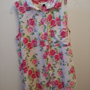 Button-Up Floral Tank